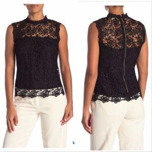 Nanette Lepore Black Lace Sleeveless Top Shirt NWT